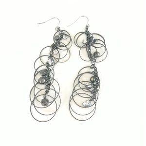 Jewelry - Black and Silver Chandelier Earrings